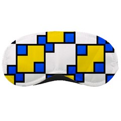 Yellow And Blue Squares Pattern Sleeping Mask by LalyLauraFLM