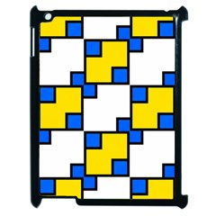 Yellow And Blue Squares Pattern Apple Ipad 2 Case (black) by LalyLauraFLM