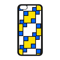 Yellow And Blue Squares Pattern Apple Iphone 5c Seamless Case (black)