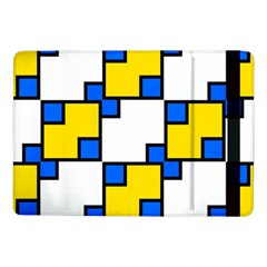 Yellow And Blue Squares Pattern 	samsung Galaxy Tab Pro 10 1  Flip Case by LalyLauraFLM