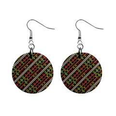 Colorful Tribal Print Mini Button Earrings by dflcprintsclothing