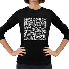 Background Noise In Black & White Women s Long Sleeve T-shirt (dark Colored) by StuffOrSomething