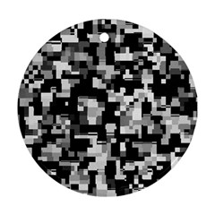 Background Noise In Black & White Round Ornament (two Sides)