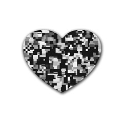 Background Noise In Black & White Drink Coasters 4 Pack (heart)  by StuffOrSomething