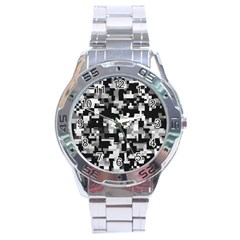 Background Noise In Black & White Stainless Steel Watch by StuffOrSomething