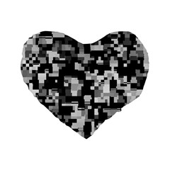 Background Noise In Black & White Standard 16  Premium Flano Heart Shape Cushion  by StuffOrSomething