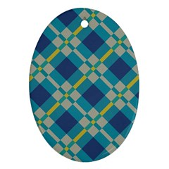 Squares And Stripes Pattern Ornament (oval) by LalyLauraFLM