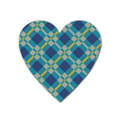 Squares And Stripes Pattern Magnet (heart) by LalyLauraFLM