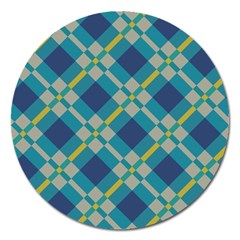 Squares And Stripes Pattern Magnet 5  (round) by LalyLauraFLM