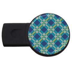 Squares And Stripes Pattern Usb Flash Drive Round (2 Gb) by LalyLauraFLM