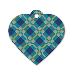 Squares And Stripes Pattern Dog Tag Heart (two Sides) by LalyLauraFLM