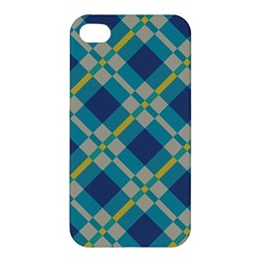 Squares And Stripes Pattern Apple Iphone 4/4s Premium Hardshell Case by LalyLauraFLM