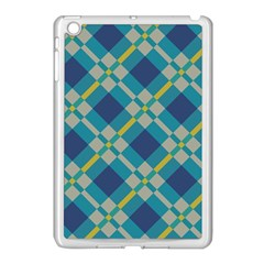Squares And Stripes Pattern Apple Ipad Mini Case (white) by LalyLauraFLM