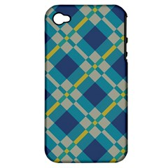 Squares And Stripes Pattern Apple Iphone 4/4s Hardshell Case (pc+silicone) by LalyLauraFLM