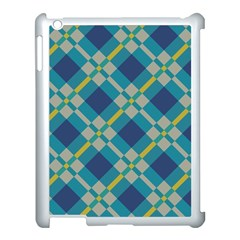 Squares And Stripes Pattern Apple Ipad 3/4 Case (white) by LalyLauraFLM