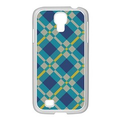 Squares And Stripes Pattern Samsung Galaxy S4 I9500/ I9505 Case (white) by LalyLauraFLM