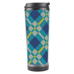 Squares And Stripes Pattern Travel Tumbler by LalyLauraFLM