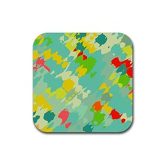 Smudged Shapes Rubber Square Coaster (4 Pack) by LalyLauraFLM