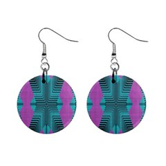 Tribal Purple Rhombus 1  Button Earrings
