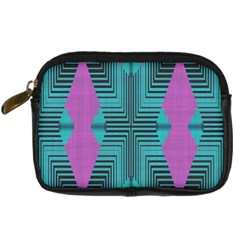 Tribal Purple Rhombus Digital Camera Leather Case by LalyLauraFLM