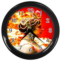 Mata Hari Wall Clock (black) by icarusismartdesigns
