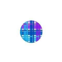 Blue & Purple Gingham Plaid 1  Mini Button Magnet by StuffOrSomething