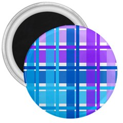 Blue & Purple Gingham Plaid 3  Button Magnet by StuffOrSomething