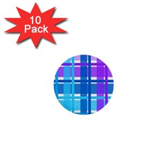 Blue & Purple Gingham Plaid 1  Mini Button (10 Pack) by StuffOrSomething