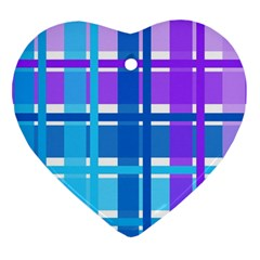 Blue & Purple Gingham Plaid Heart Ornament (two Sides) by StuffOrSomething