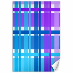 Blue & Purple Gingham Plaid Canvas 20  X 30  (unframed)