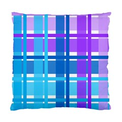 Blue & Purple Gingham Plaid Cushion Case (two Sided)  by StuffOrSomething