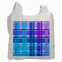 Blue & Purple Gingham Plaid White Reusable Bag (one Side)