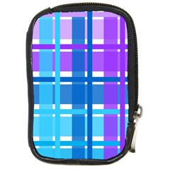 Blue & Purple Gingham Plaid Compact Camera Leather Case by StuffOrSomething