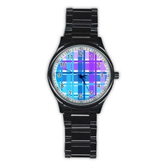 Blue & Purple Gingham Plaid Sport Metal Watch (black) by StuffOrSomething