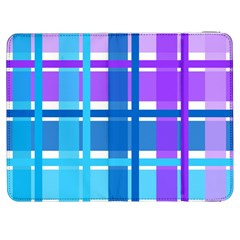 Blue & Purple Gingham Plaid Samsung Galaxy Tab 7  P1000 Flip Case by StuffOrSomething