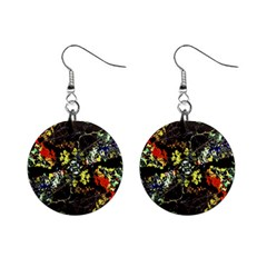Floral Collage Print Mini Button Earrings