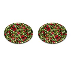 Floral Collage Print Cufflinks (oval) by dflcprintsclothing