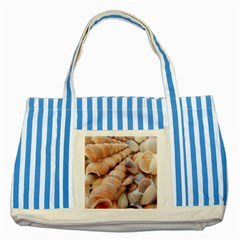 Sea Shells Blue Striped Tote Bag by yoursparklingshop