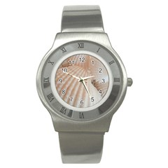 Sunny White Seashells Stainless Steel Watch (slim) by yoursparklingshop