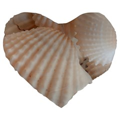 Sunny White Seashells Large 19  Premium Flano Heart Shape Cushion by yoursparklingshop