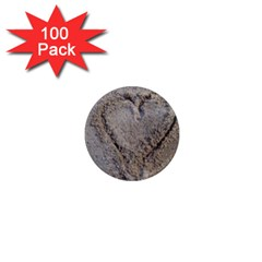 Heart In The Sand 1  Mini Button Magnet (100 Pack)