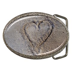 Heart In The Sand Belt Buckle (oval) by yoursparklingshop