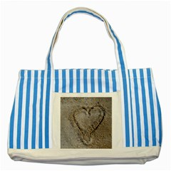 Heart In The Sand Blue Striped Tote Bag