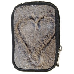 Heart In The Sand Compact Camera Leather Case by yoursparklingshop