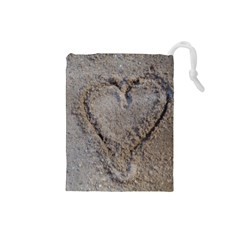 Heart In The Sand Drawstring Pouch (small) by yoursparklingshop