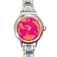 Red Orange 5000 Round Italian Charm Watch by yoursparklingshop