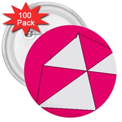 Pink White Art Kids 7000 3  Button (100 Pack)