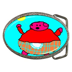 Sweet Pig Knoremans, Art By Kids Belt Buckle (oval) by yoursparklingshop