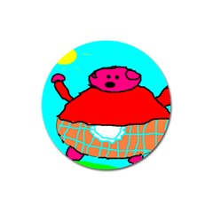 Sweet Pig Knoremans, Art By Kids Magnet 3  (round) by yoursparklingshop