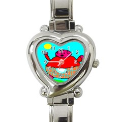 Sweet Pig Knoremans, Art By Kids Heart Italian Charm Watch  by yoursparklingshop